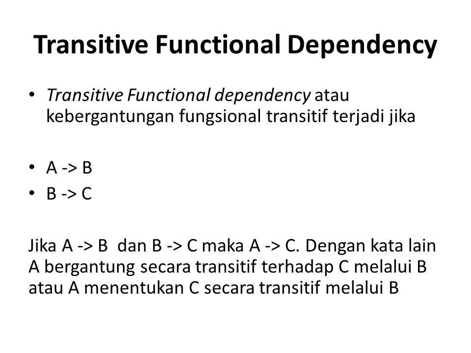 Transitive Functional Dependency Transitive Functional dependency atau kebergantungan fungsional transitif terjadi jika A -> B B -> C Jika A -> B dan B -> C maka A -> C.