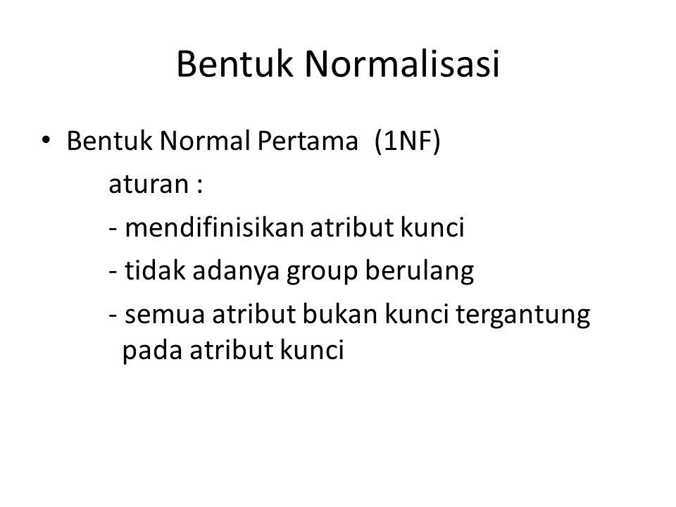 Bentuk Normalisasi Bentuk Normal Pertama (1NF) aturan : - mendifinisikan atribut kunci - tidak adanya group berulang - semua atribut bukan kunci terga