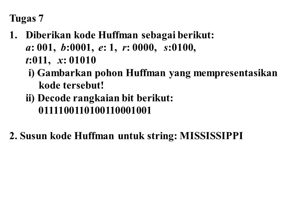 Tugas 7 1.Diberikan kode Huffman sebagai berikut: a: 001, b:0001, e: 1, r: 0000, s:0100, t:011, x: 01010 i) Gambarkan pohon Huffman yang mempresentasi