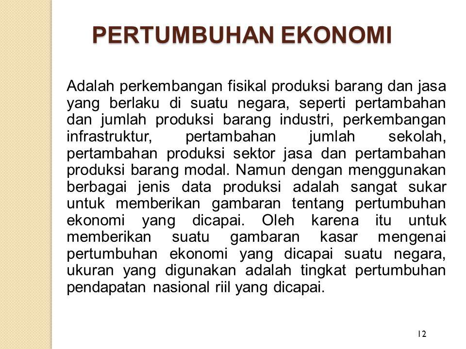 PERTUMBUHAN EKONOMI Adalah perkembangan fisikal produksi barang dan jasa yang berlaku di suatu negara, seperti pertambahan dan jumlah produksi barang
