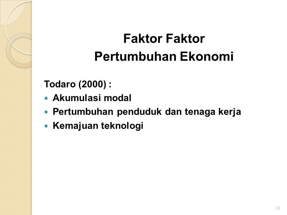 Faktor Pertumbuhan Ekonomi Todaro (2000) : Akumulasi modal Pertumbuhan penduduk dan tenaga kerja Kemajuan teknologi 13