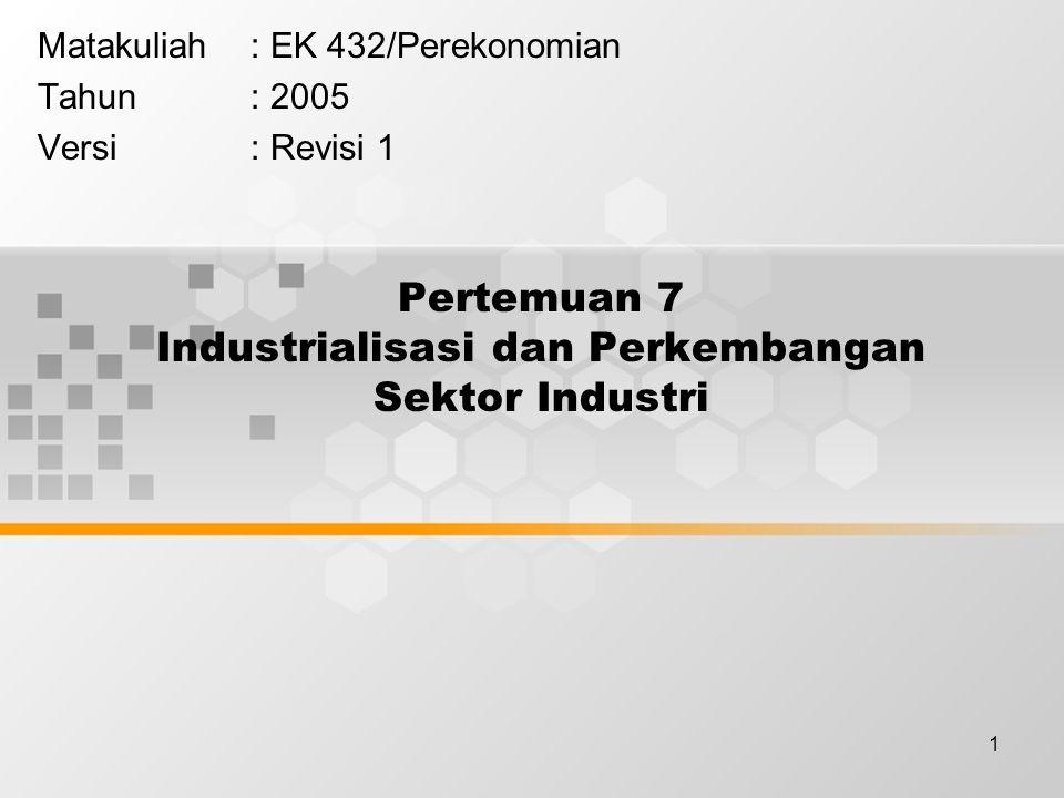1 Pertemuan 7 Industrialisasi dan Perkembangan Sektor Industri Matakuliah: EK 432/Perekonomian Tahun: 2005 Versi: Revisi 1
