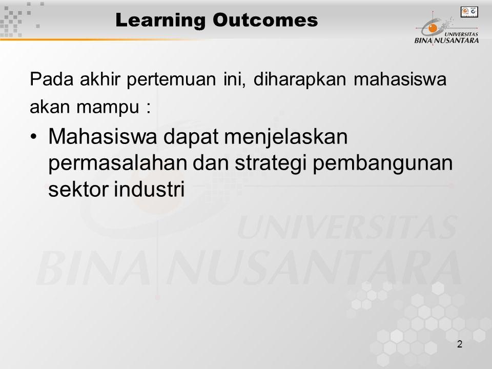 2 Learning Outcomes Pada akhir pertemuan ini, diharapkan mahasiswa akan mampu : Mahasiswa dapat menjelaskan permasalahan dan strategi pembangunan sektor industri