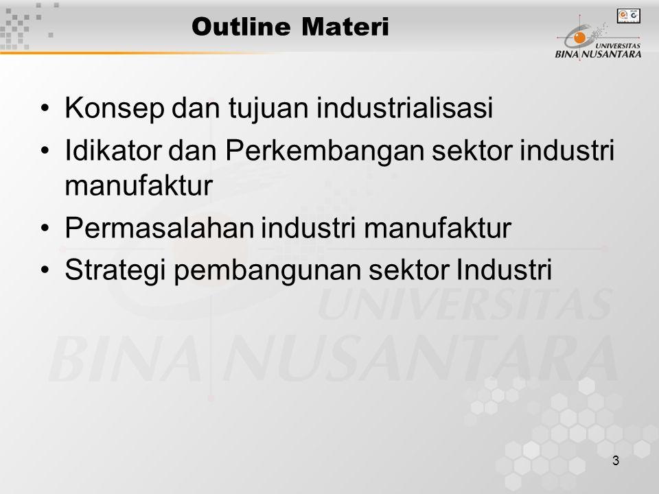 3 Outline Materi Konsep dan tujuan industrialisasi Idikator dan Perkembangan sektor industri manufaktur Permasalahan industri manufaktur Strategi pembangunan sektor Industri
