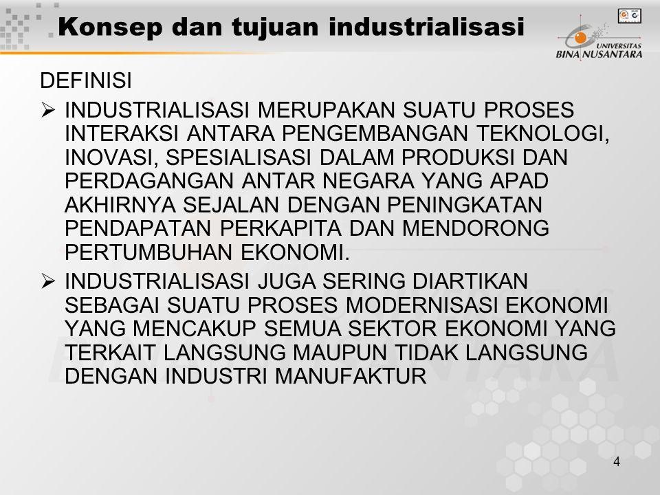 4 Konsep dan tujuan industrialisasi DEFINISI  INDUSTRIALISASI MERUPAKAN SUATU PROSES INTERAKSI ANTARA PENGEMBANGAN TEKNOLOGI, INOVASI, SPESIALISASI DALAM PRODUKSI DAN PERDAGANGAN ANTAR NEGARA YANG APAD AKHIRNYA SEJALAN DENGAN PENINGKATAN PENDAPATAN PERKAPITA DAN MENDORONG PERTUMBUHAN EKONOMI.