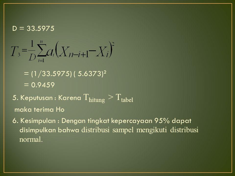 D = 33.5975 = (1/33.5975) ( 5.6373) 2 = 0.9459 5. Keputusan : Karena T hitung > T tabel maka terima Ho 6. Kesimpulan : Dengan tingkat kepercayaan 95%