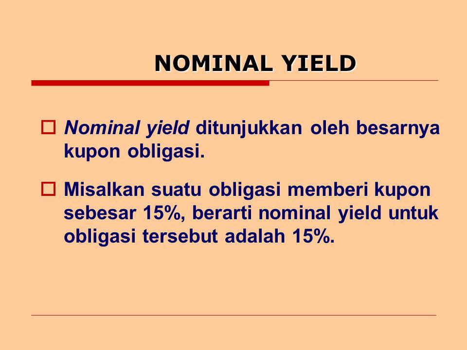 NOMINAL YIELD  Nominal yield ditunjukkan oleh besarnya kupon obligasi.
