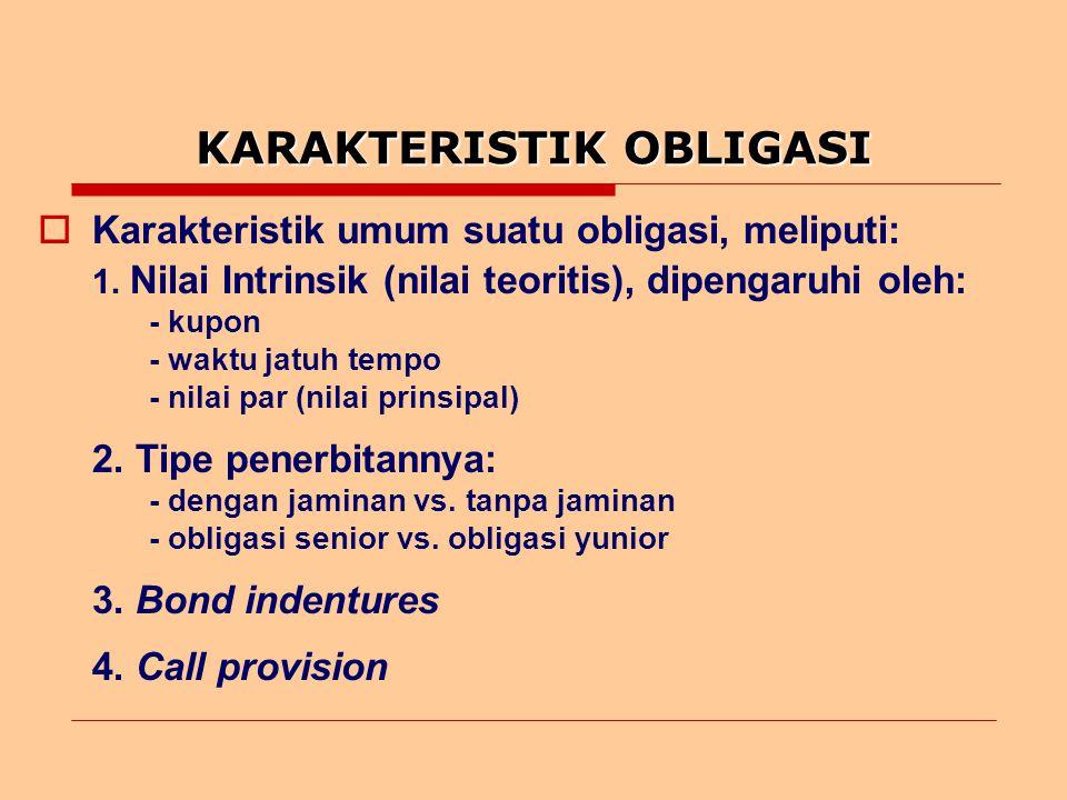 JENIS-JENIS OBLIGASI  Jenis-jenis obligasi yang biasa diperdagangkan meliputi: 1.