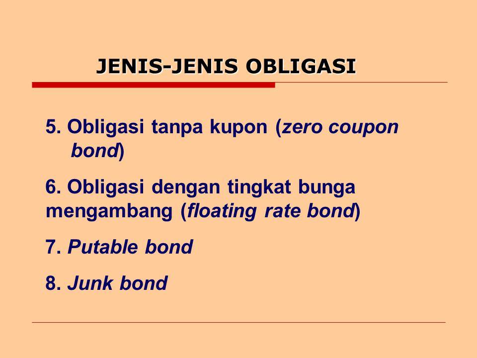 JENIS-JENIS OBLIGASI 5.Obligasi tanpa kupon (zero coupon bond) 6.