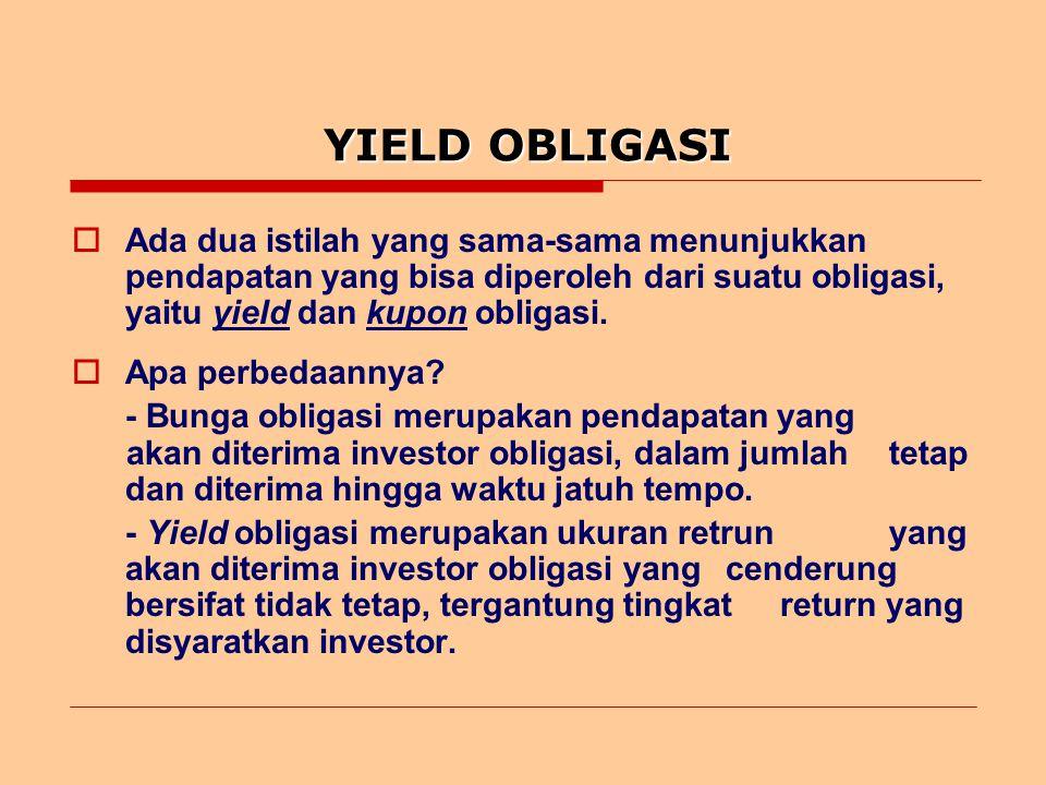 YIELD OBLIGASI  Yield obligasi bisa dibagi tiga, yaitu: 1.