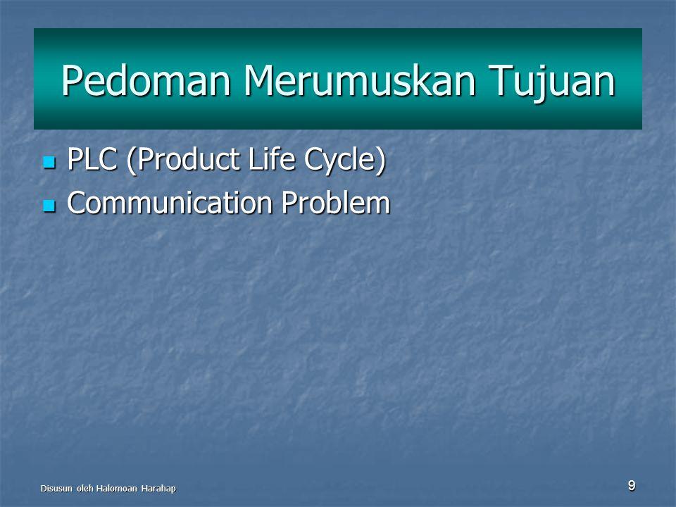 Disusun oleh Halomoan Harahap 9 Pedoman Merumuskan Tujuan PLC (Product Life Cycle) PLC (Product Life Cycle) Communication Problem Communication Proble