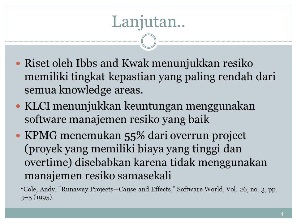 4 Lanjutan.. Riset oleh Ibbs and Kwak menunjukkan resiko memiliki tingkat kepastian yang paling rendah dari semua knowledge areas. KLCI menunjukkan ke