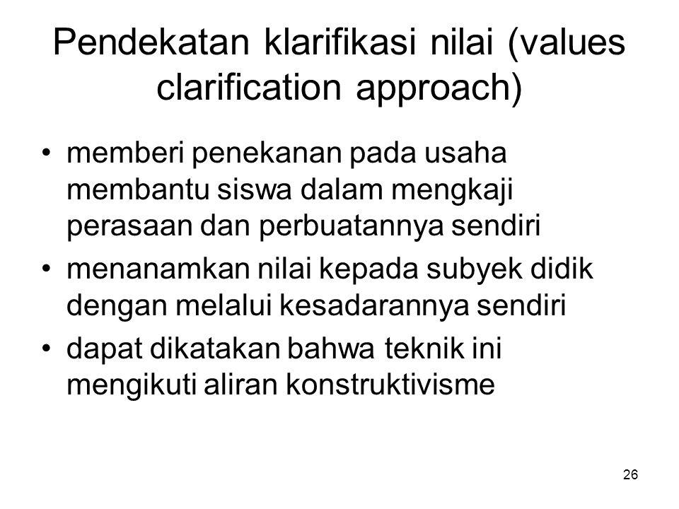 26 Pendekatan klarifikasi nilai (values clarification approach) memberi penekanan pada usaha membantu siswa dalam mengkaji perasaan dan perbuatannya s