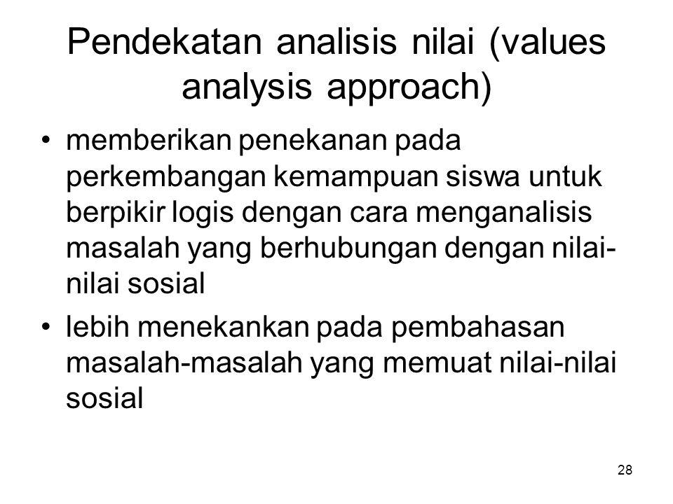 28 Pendekatan analisis nilai (values analysis approach) memberikan penekanan pada perkembangan kemampuan siswa untuk berpikir logis dengan cara mengan