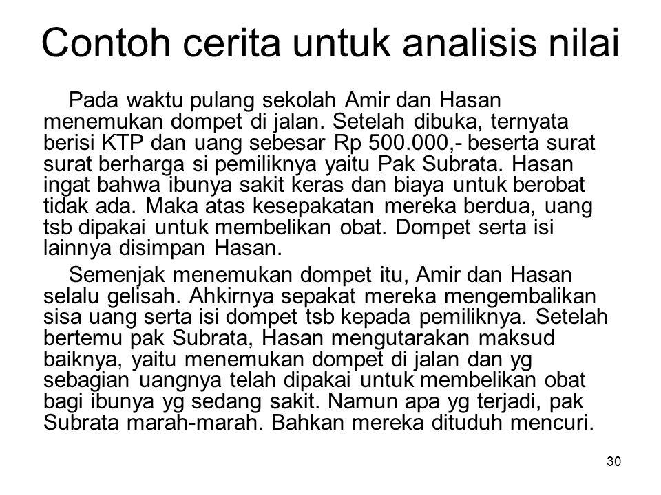 30 Contoh cerita untuk analisis nilai Pada waktu pulang sekolah Amir dan Hasan menemukan dompet di jalan. Setelah dibuka, ternyata berisi KTP dan uang