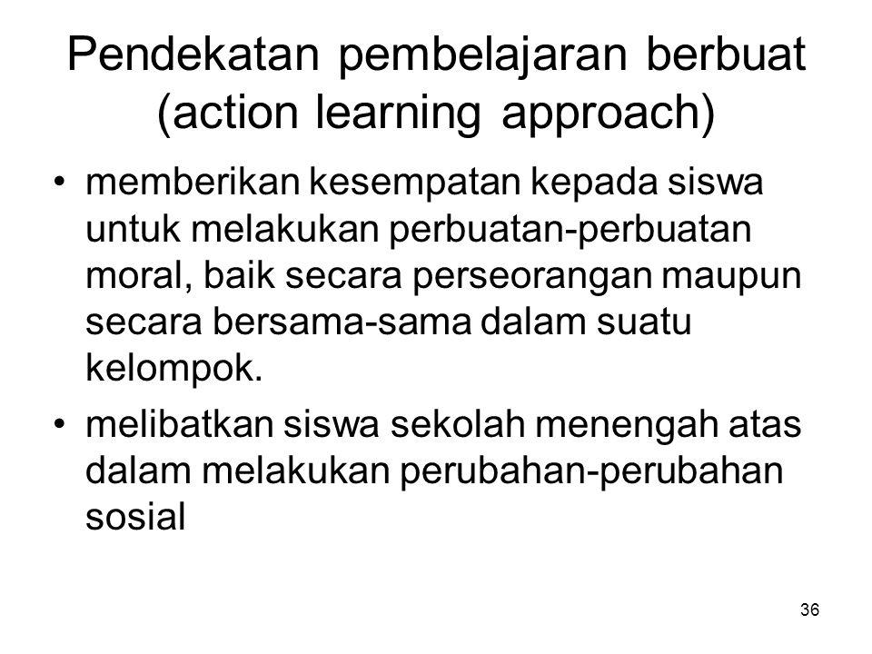 36 Pendekatan pembelajaran berbuat (action learning approach) memberikan kesempatan kepada siswa untuk melakukan perbuatan-perbuatan moral, baik secar