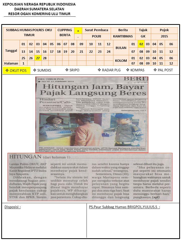 SUBBAG HUMAS POLRES OKU TIMUR CLIPPING BERITA + Surat PembacaBeritaTajukPojok - POLRIKAMTIBMASGK2015 Tanggal 010203040506070809101112 BULAN 0102030405