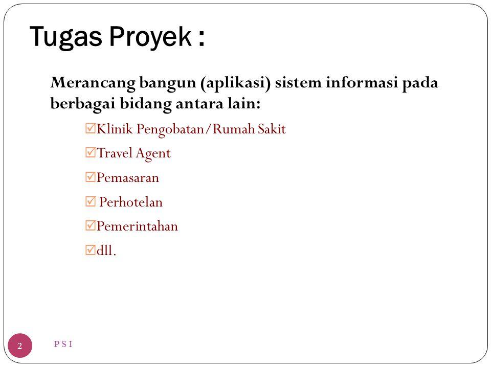 Tugas Proyek : P S I 2 Merancang bangun (aplikasi) sistem informasi pada berbagai bidang antara lain:  Klinik Pengobatan/Rumah Sakit  Travel Agent 