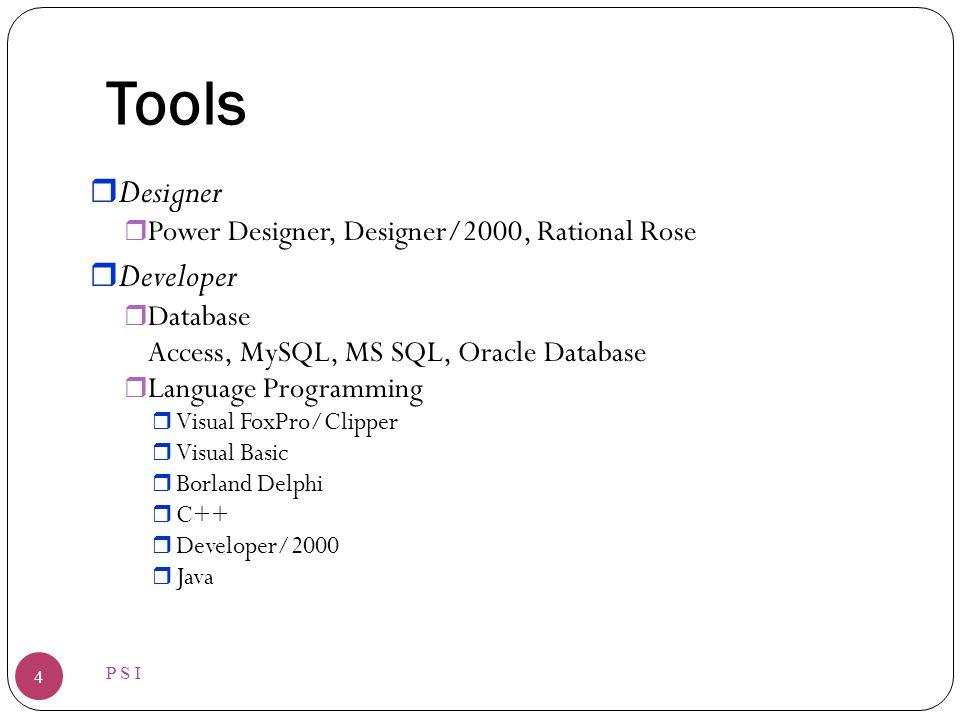 Tools P S I 4 r Designer r Power Designer, Designer/2000, Rational Rose r Developer r Database Access, MySQL, MS SQL, Oracle Database r Language Programming r Visual FoxPro/Clipper r Visual Basic r Borland Delphi r C++ r Developer/2000 r Java