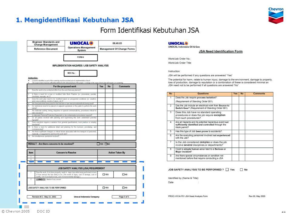DOC ID © Chevron 2005 21 Form Identifikasi Kebutuhan JSA 1. Mengidentifikasi Kebutuhan JSA