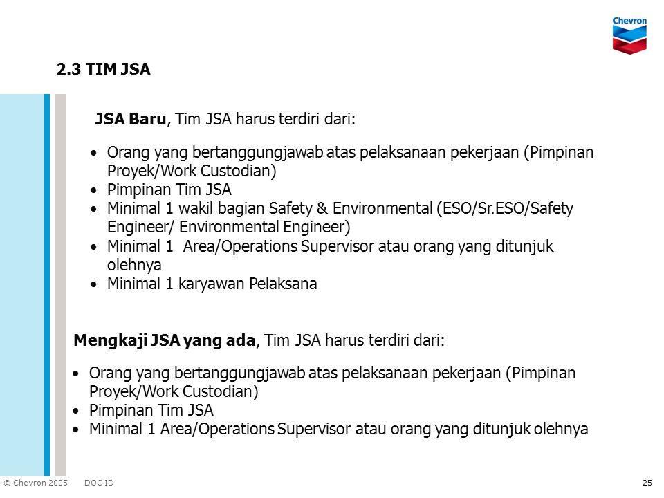 DOC ID © Chevron 2005 25 2.3 TIM JSA JSA Baru, Tim JSA harus terdiri dari: Mengkaji JSA yang ada, Tim JSA harus terdiri dari: Orang yang bertanggungja