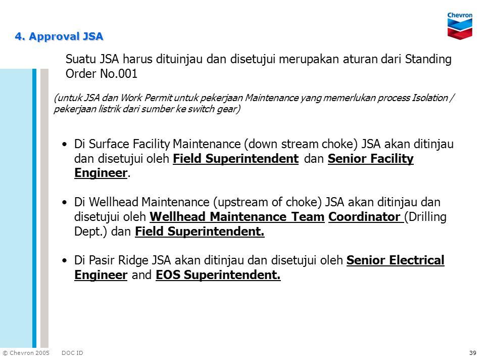 DOC ID © Chevron 2005 39 4. Approval JSA Di Surface Facility Maintenance (down stream choke) JSA akan ditinjau dan disetujui oleh Field Superintendent