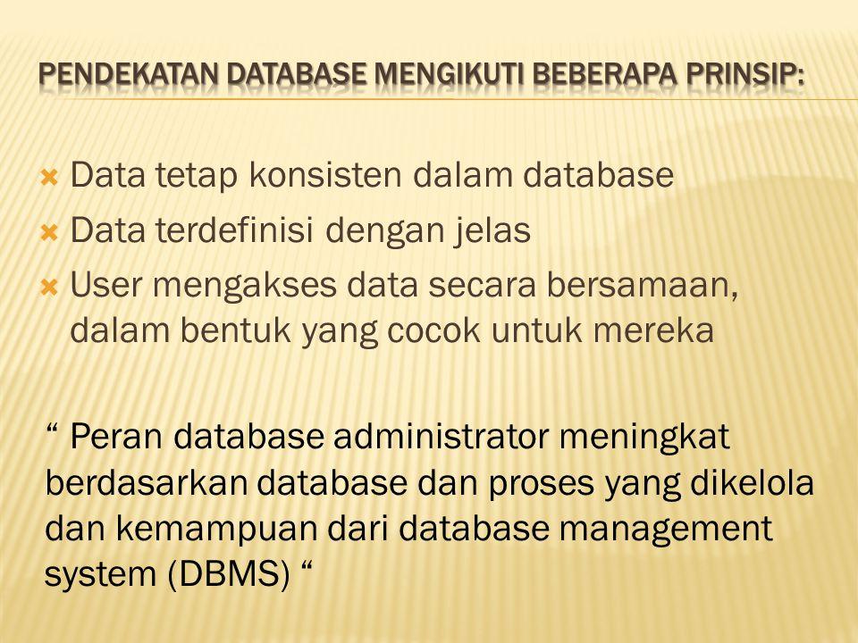  Data tetap konsisten dalam database  Data terdefinisi dengan jelas  User mengakses data secara bersamaan, dalam bentuk yang cocok untuk mereka Peran database administrator meningkat berdasarkan database dan proses yang dikelola dan kemampuan dari database management system (DBMS)