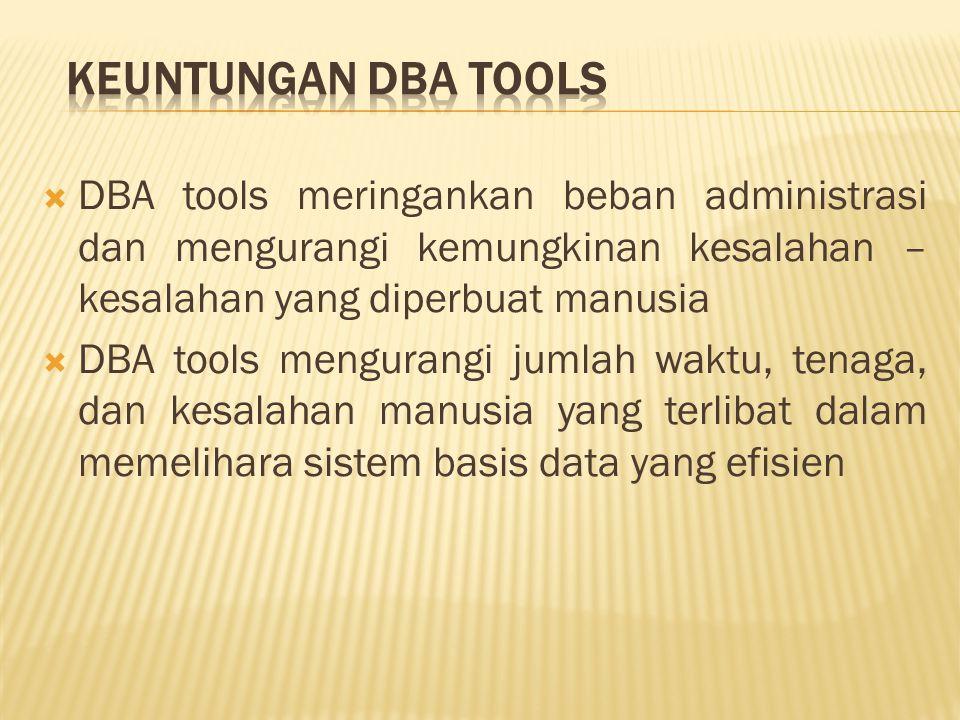  DBA tools meringankan beban administrasi dan mengurangi kemungkinan kesalahan – kesalahan yang diperbuat manusia  DBA tools mengurangi jumlah waktu, tenaga, dan kesalahan manusia yang terlibat dalam memelihara sistem basis data yang efisien
