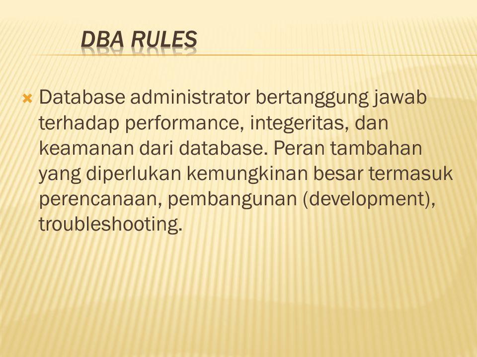  Database administrator bertanggung jawab terhadap performance, integeritas, dan keamanan dari database.