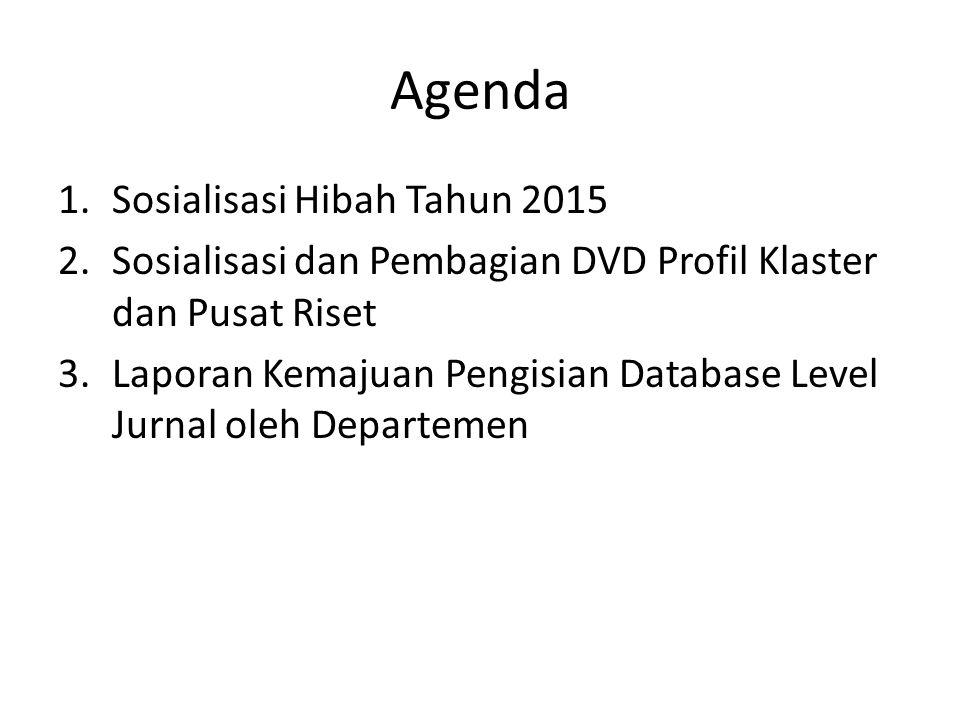 Agenda 1.Sosialisasi Hibah Tahun 2015 2.Sosialisasi dan Pembagian DVD Profil Klaster dan Pusat Riset 3.Laporan Kemajuan Pengisian Database Level Jurna