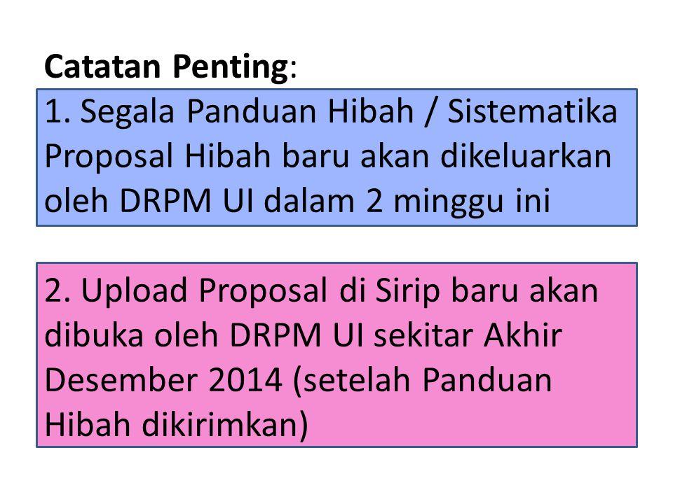 Catatan Penting: 1. Segala Panduan Hibah / Sistematika Proposal Hibah baru akan dikeluarkan oleh DRPM UI dalam 2 minggu ini 2. Upload Proposal di Siri