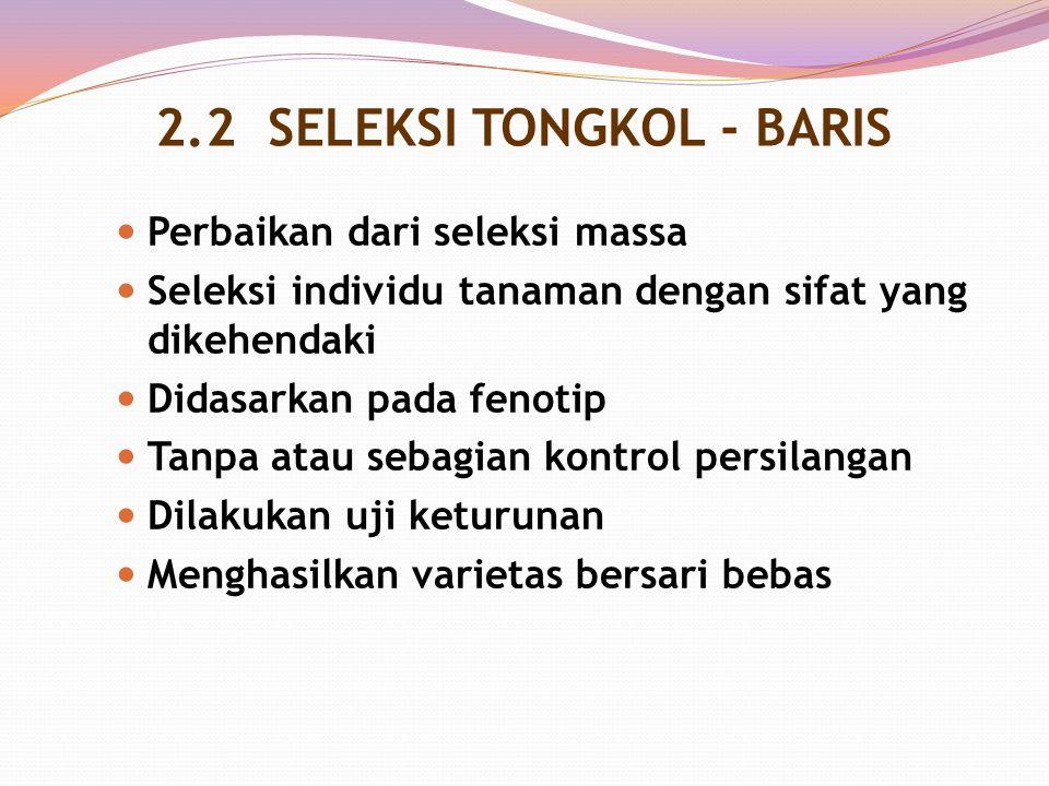 2.2 SELEKSI TONGKOL - BARIS Perbaikan dari seleksi massa Seleksi individu tanaman dengan sifat yang dikehendaki Didasarkan pada fenotip Tanpa atau seb