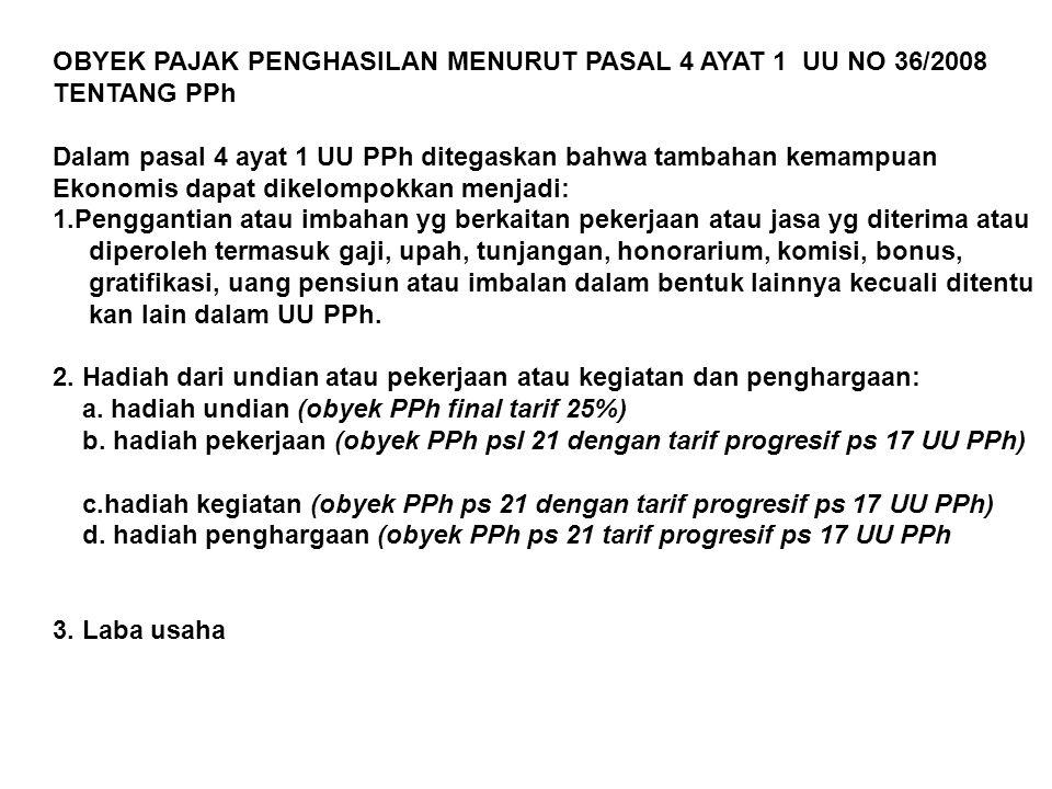 OBYEK PAJAK PENGHASILAN MENURUT PASAL 4 AYAT 1 UU NO 36/2008 TENTANG PPh Dalam pasal 4 ayat 1 UU PPh ditegaskan bahwa tambahan kemampuan Ekonomis dapa