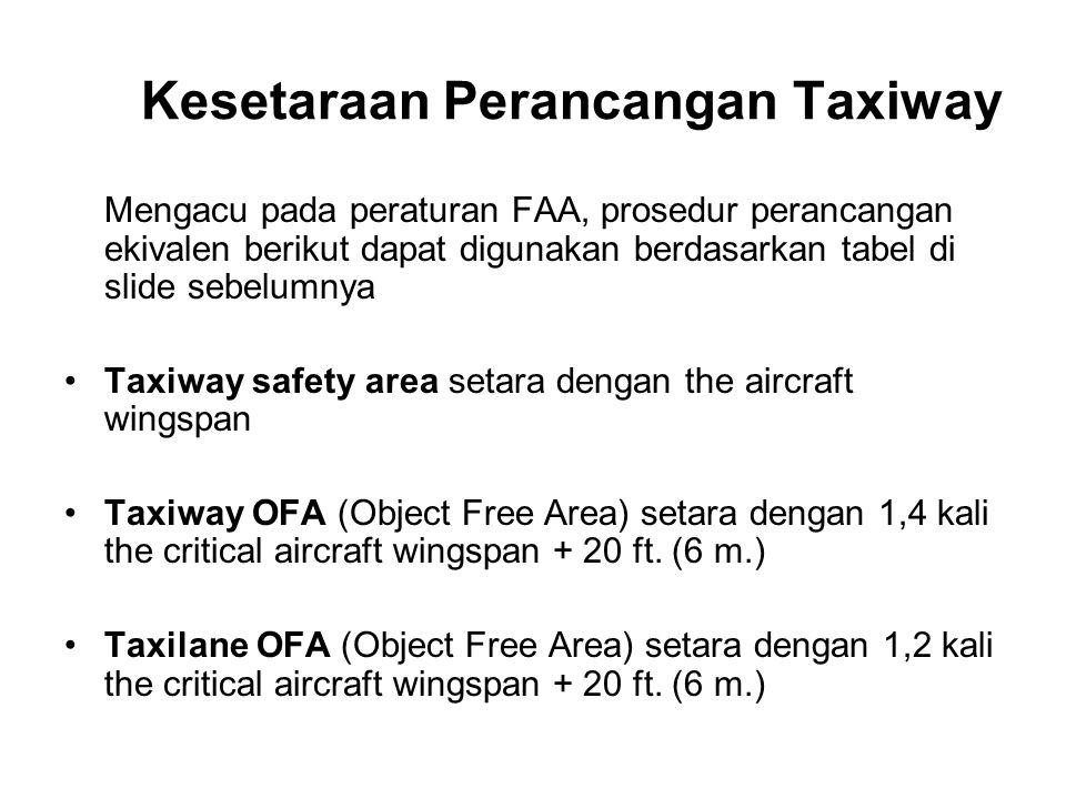 Kesetaraan Perancangan Taxiway Mengacu pada peraturan FAA, prosedur perancangan ekivalen berikut dapat digunakan berdasarkan tabel di slide sebelumnya