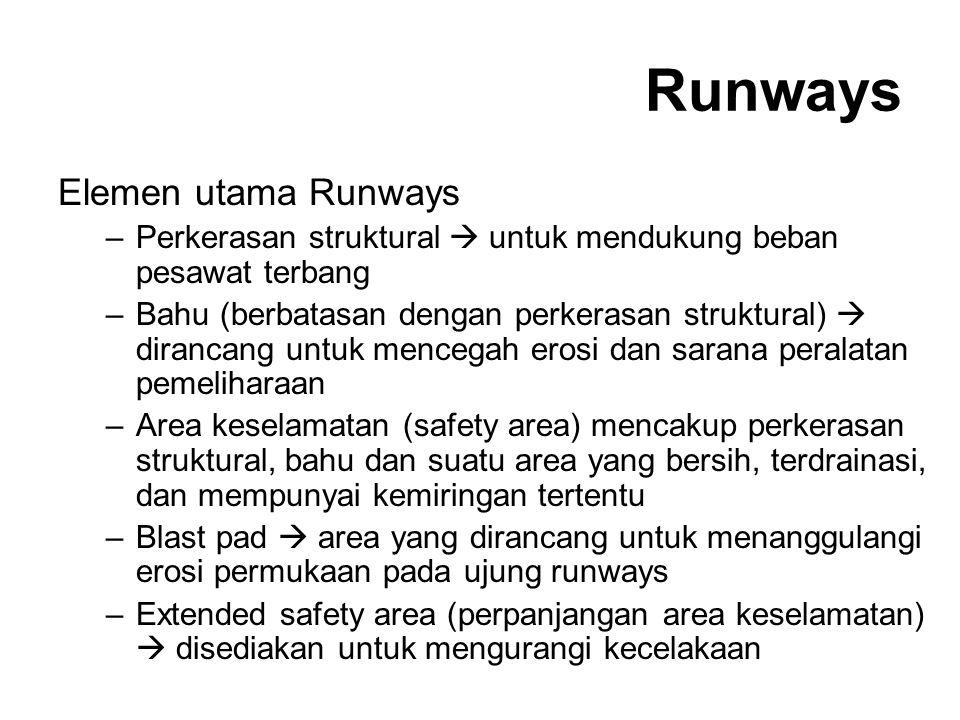 Runways Elemen utama Runways –Perkerasan struktural  untuk mendukung beban pesawat terbang –Bahu (berbatasan dengan perkerasan struktural)  dirancan
