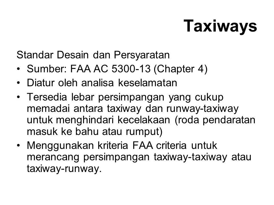 Taxiways Standar Desain dan Persyaratan Sumber: FAA AC 5300-13 (Chapter 4) Diatur oleh analisa keselamatan Tersedia lebar persimpangan yang cukup mema