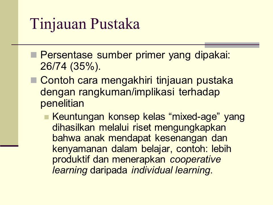 Tinjauan Pustaka Persentase sumber primer yang dipakai: 26/74 (35%). Contoh cara mengakhiri tinjauan pustaka dengan rangkuman/implikasi terhadap penel