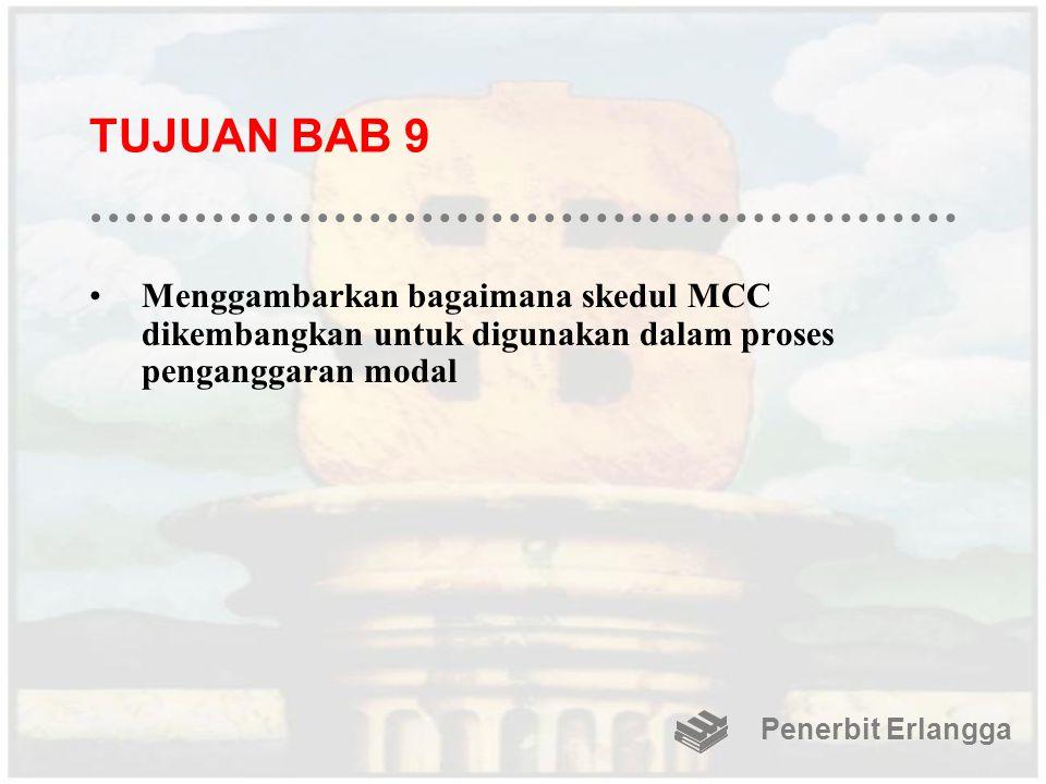 TUJUAN BAB 9 Menggambarkan bagaimana skedul MCC dikembangkan untuk digunakan dalam proses penganggaran modal Penerbit Erlangga