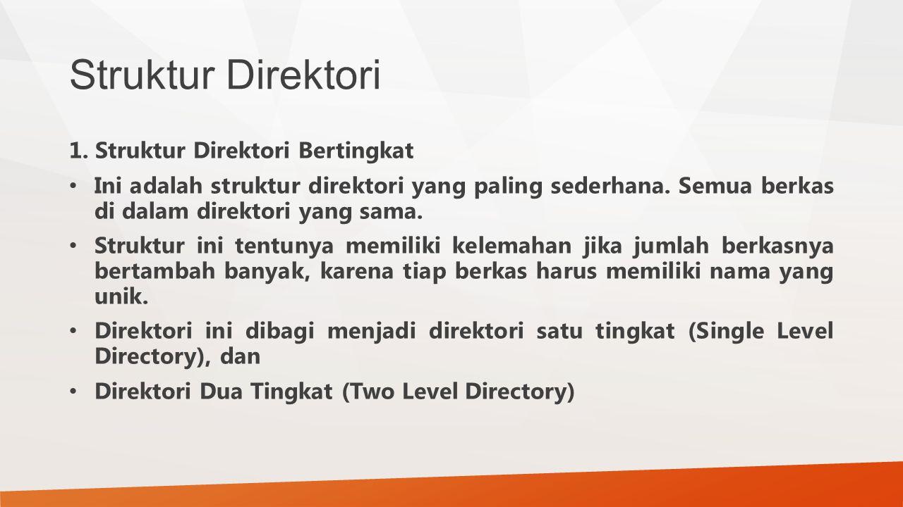 Struktur Direktori 1. Struktur Direktori Bertingkat Ini adalah struktur direktori yang paling sederhana. Semua berkas di dalam direktori yang sama. St