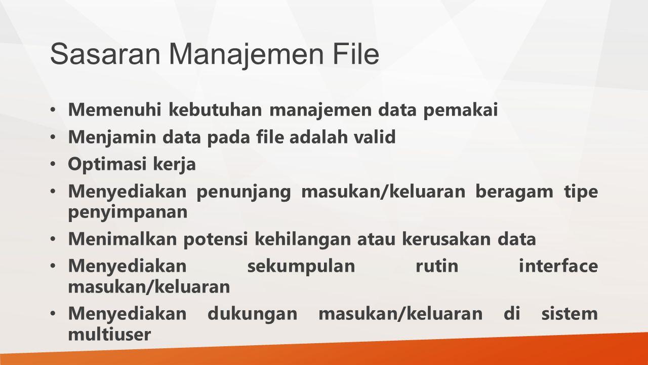 Sasaran Manajemen File Memenuhi kebutuhan manajemen data pemakai Menjamin data pada file adalah valid Optimasi kerja Menyediakan penunjang masukan/kel