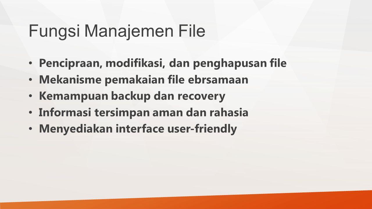 Fungsi Manajemen File Pencipraan, modifikasi, dan penghapusan file Mekanisme pemakaian file ebrsamaan Kemampuan backup dan recovery Informasi tersimpa