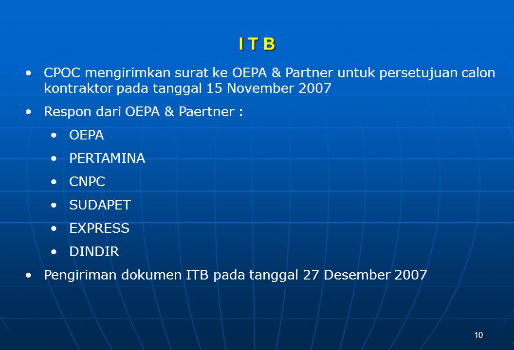 10 I T B CPOC mengirimkan surat ke OEPA & Partner untuk persetujuan calon kontraktor pada tanggal 15 November 2007 Respon dari OEPA & Paertner : OEPA PERTAMINA CNPC SUDAPET EXPRESS DINDIR Pengiriman dokumen ITB pada tanggal 27 Desember 2007