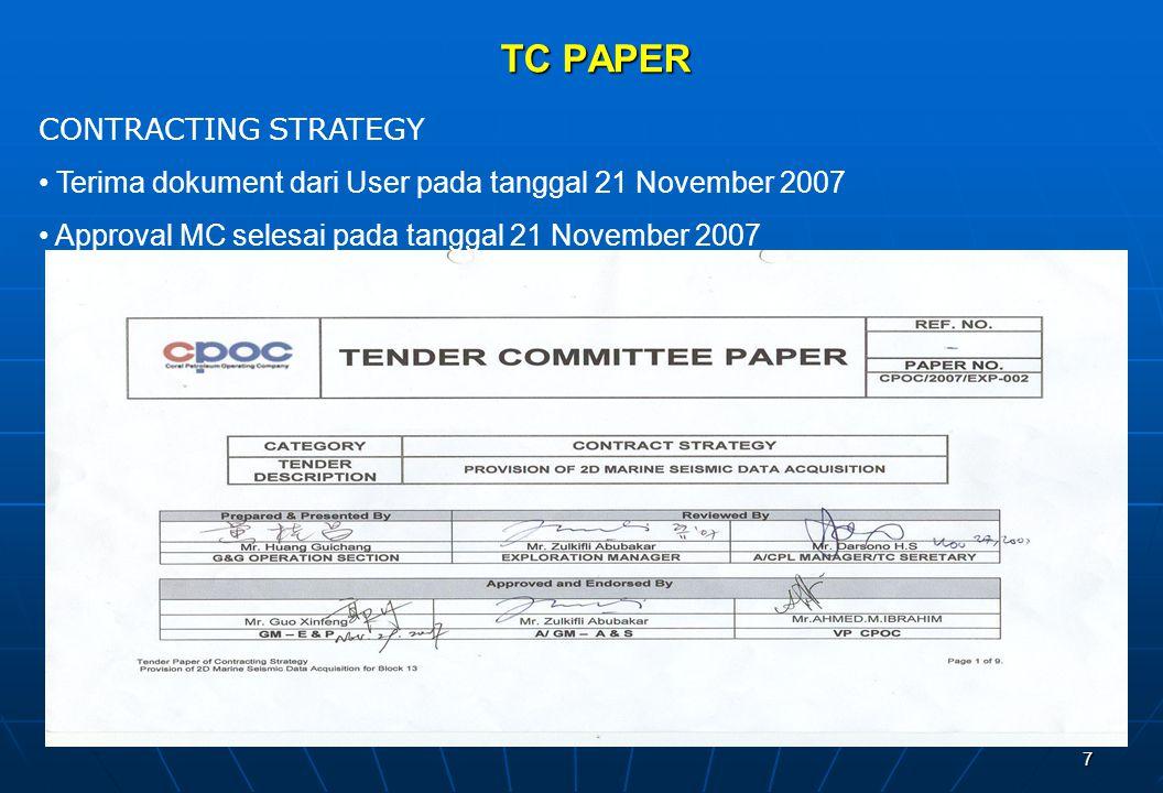 7 TC PAPER CONTRACTING STRATEGY Terima dokument dari User pada tanggal 21 November 2007 Approval MC selesai pada tanggal 21 November 2007