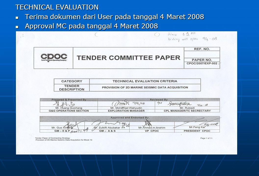 TECHNICAL EVALUATION Terima dokumen dari User pada tanggal 4 Maret 2008 Terima dokumen dari User pada tanggal 4 Maret 2008 Approval MC pada tanggal 4 Maret 2008 Approval MC pada tanggal 4 Maret 2008