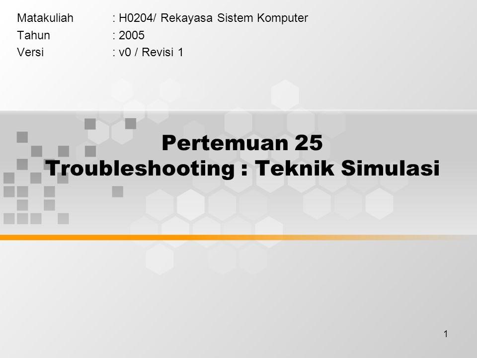1 Pertemuan 25 Troubleshooting : Teknik Simulasi Matakuliah: H0204/ Rekayasa Sistem Komputer Tahun: 2005 Versi: v0 / Revisi 1