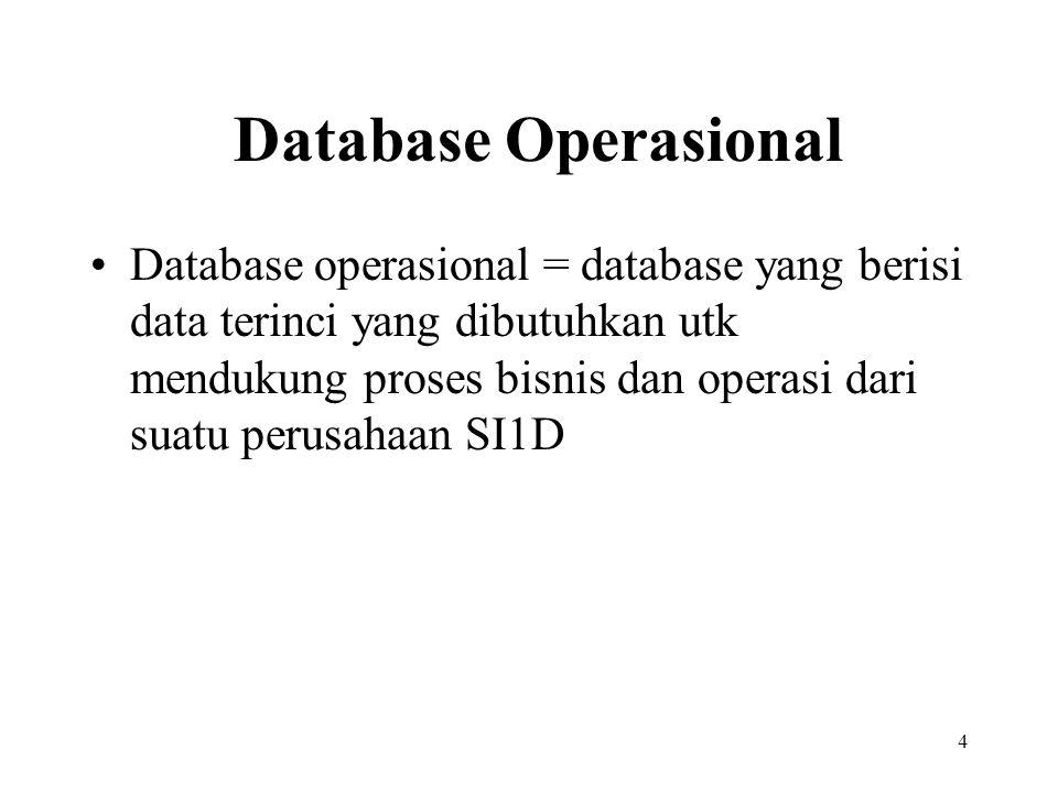 4 Database Operasional Database operasional = database yang berisi data terinci yang dibutuhkan utk mendukung proses bisnis dan operasi dari suatu perusahaan SI1D