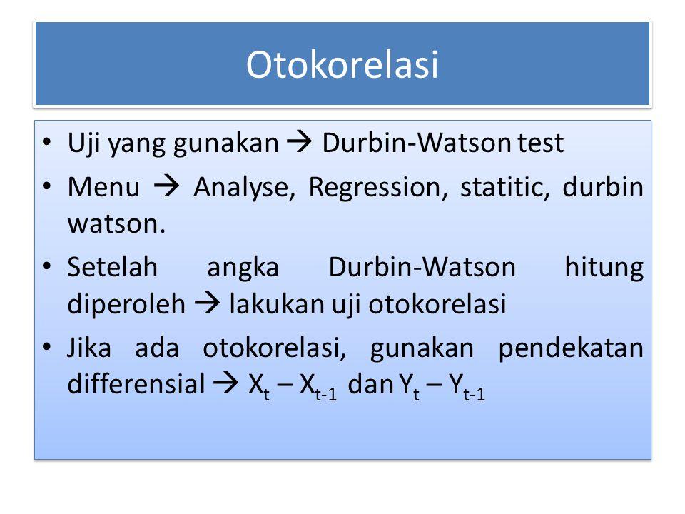Otokorelasi Uji yang gunakan  Durbin-Watson test Menu  Analyse, Regression, statitic, durbin watson. Setelah angka Durbin-Watson hitung diperoleh 