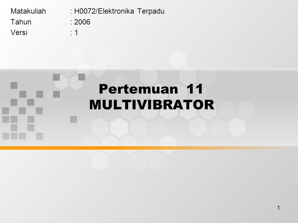 1 Pertemuan 11 MULTIVIBRATOR Matakuliah: H0072/Elektronika Terpadu Tahun: 2006 Versi: 1