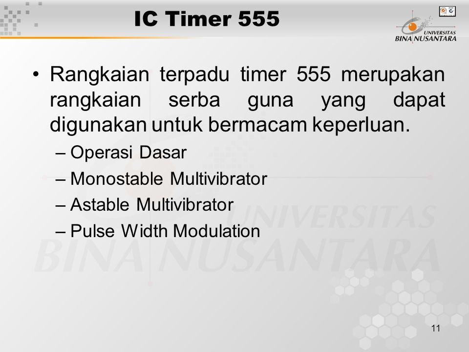 11 IC Timer 555 Rangkaian terpadu timer 555 merupakan rangkaian serba guna yang dapat digunakan untuk bermacam keperluan. –Operasi Dasar –Monostable M