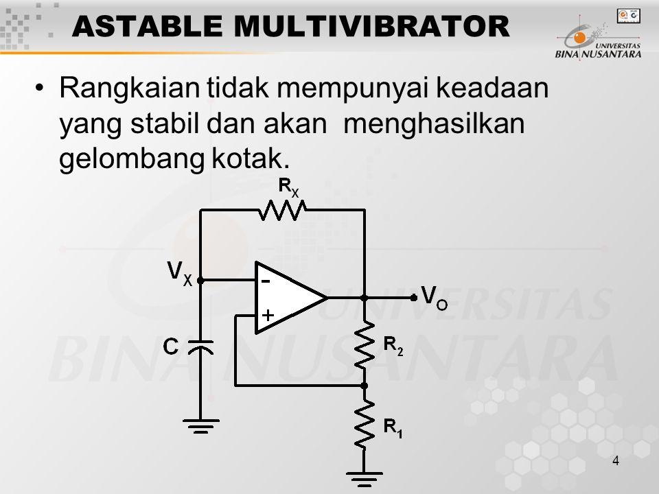 4 ASTABLE MULTIVIBRATOR Rangkaian tidak mempunyai keadaan yang stabil dan akan menghasilkan gelombang kotak.